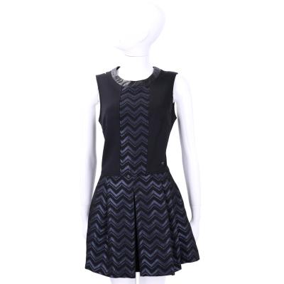TRUSSARDI 黑藍色拼接波紋設計無袖洋裝