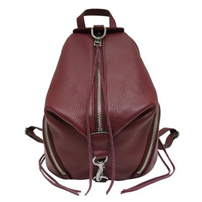 REBECCA MINKOFF JULIAN 銀釦荔枝紋牛皮後背包-中/莓紫色