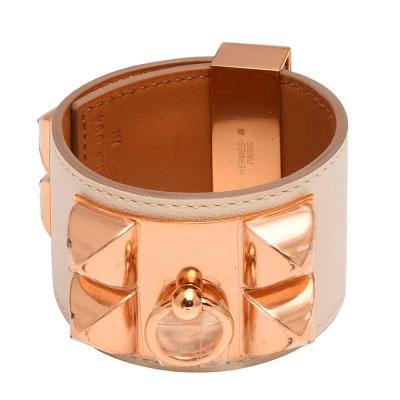 HERMES collier de chien金屬鉚釘山羊皮寬版手環(S-米白X玫瑰金)