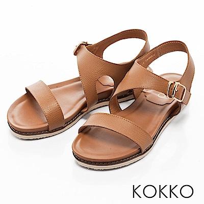 KOKKO-舒適幾何線條牛皮平底涼鞋-溫柔棕