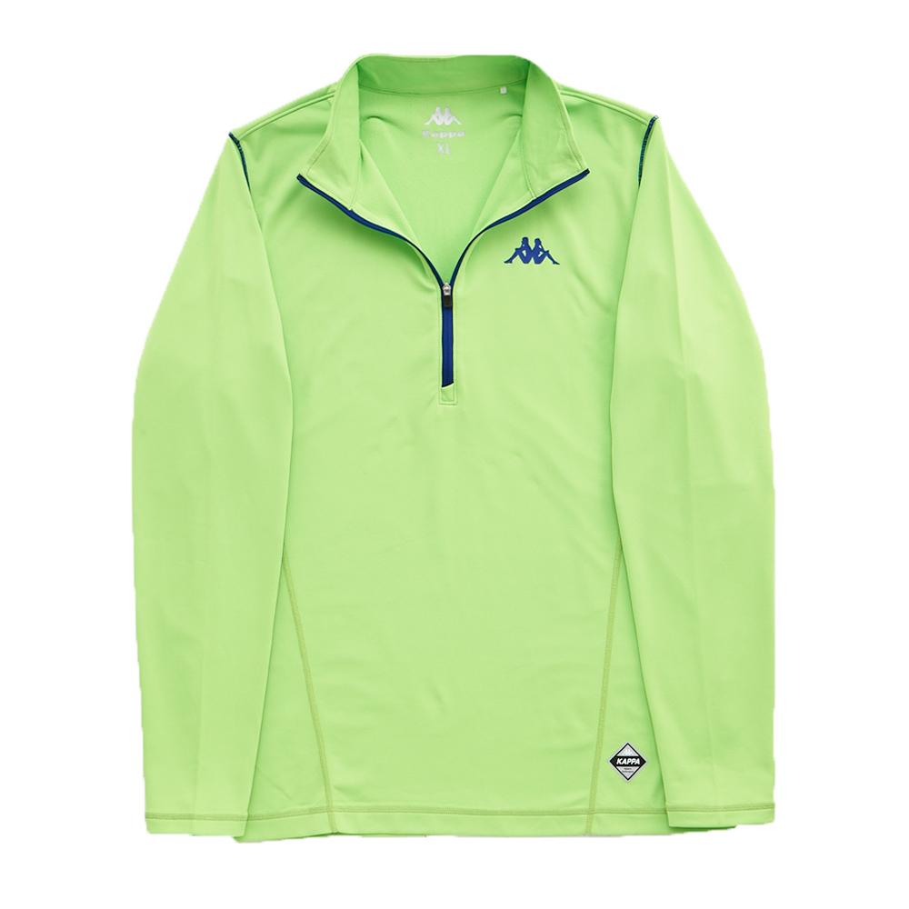 KAPPA義大利型男吸濕排汗速乾慢跑內搭小高領 厚款 蘋果綠 科技藍