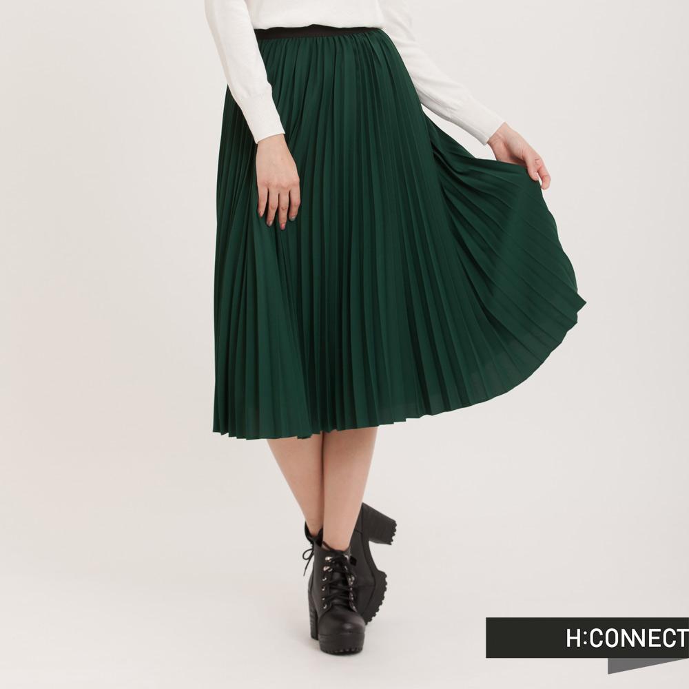 H:CONNECT韓國品牌女裝純色百褶長裙綠