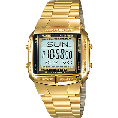 CASIO 卡西歐 DATABANK 經典多功能電子錶-金/43.1mm