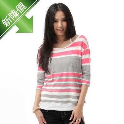 5th STREET T恤 配色條紋七分袖T恤-女-珊瑚紅