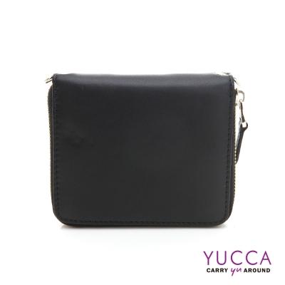 YUCCA-繽紛撞色系牛皮卡片短夾肩背小包-黑色 D0093001C68