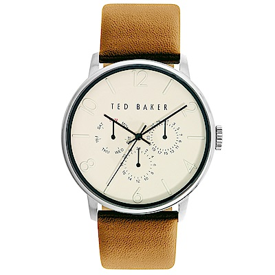 Ted Baker 英倫風尚三眼皮革手錶-米黃X咖啡/42mm