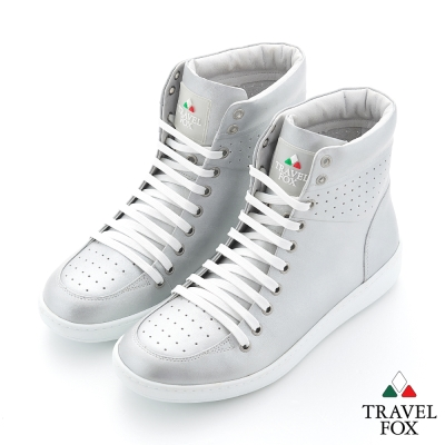 Travel Fox(男) SEXY-性感大膽 金屬系高筒休閒鞋 - 未來銀