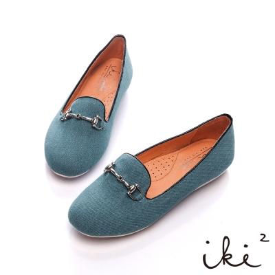 iki2流行風潮-金屬釦環舒適豆豆鞋-牛仔藍