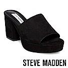 STEVE MADDEN-RELAX 絨布厚底粗跟涼拖鞋-黑色
