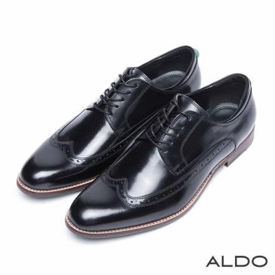 ALDO-真皮英式雕花綁帶式牛津尖頭鞋-凜冽黑色