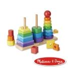 美國瑪莉莎 Melissa & Doug  益智遊戲 - 彩虹幾何疊疊樂