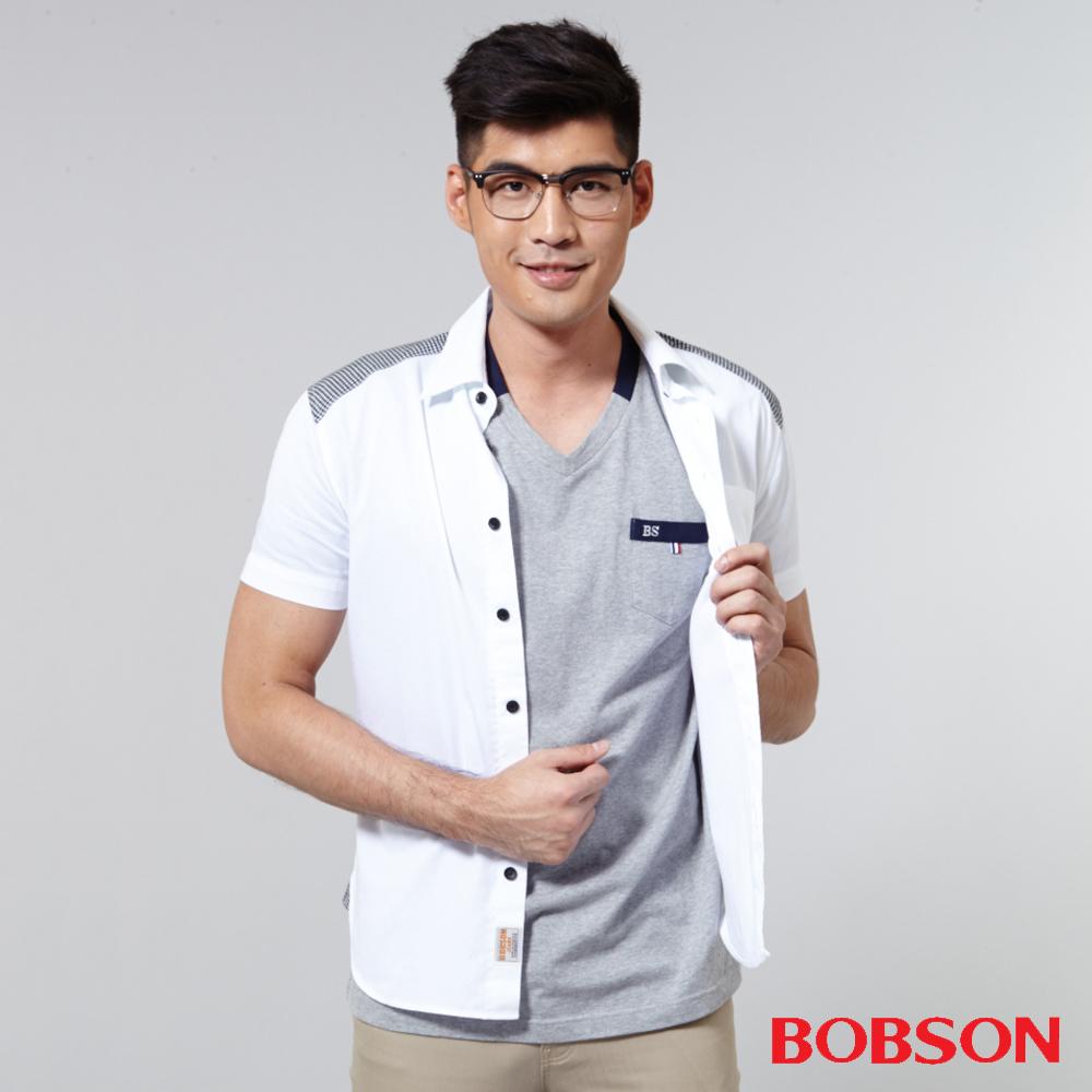 BOBSON  男款配格紋布襯衫-白色