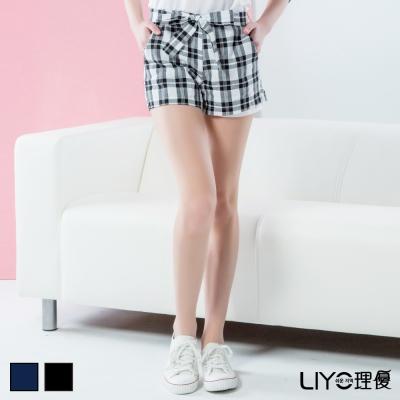 LIYO理優褲子格紋鬆緊短褲(藍,黑)