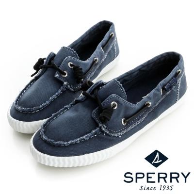 SPERRY-休閒水洗帆布鞋-藍
