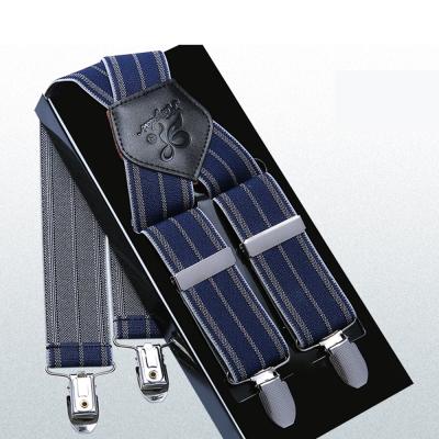 拉福  吊帶X夾紳士吊帶附紙盒(藍條)