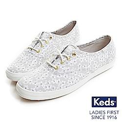 Keds CHAMPION粉嫩印花經典綁帶休閒鞋-淺灰