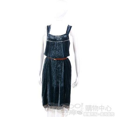 SCHUMACHER 藍綠色絨質拼接蕾絲洋裝(不含腰帶)