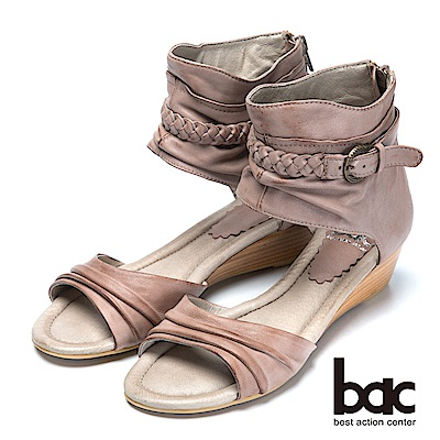 bac復古時尚仿舊真皮編織楔型涼鞋-卡其