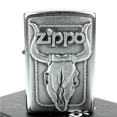 ZIPPO美系-Bull Skull-公牛頭骨貼飾打火機