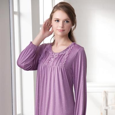 羅絲美睡衣 - 幸福旅行長袖洋裝睡衣(淺紫色)
