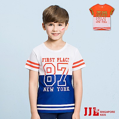 JJLKIDS 個性字母雙色拼接短袖上衣T恤(2色)