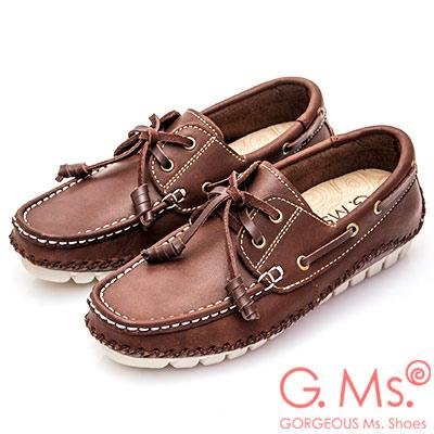 G.Ms. MIT系列-牛皮縫線綁帶帆船鞋-咖啡