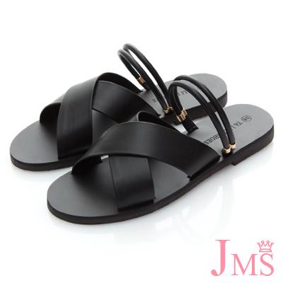 JMS-2WAY寬版交叉細帶平底涼拖-黑色