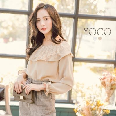 東京著衣-yoco 優雅美人蕾絲波浪圓領荷葉袖上衣-S.M.L(共二色)