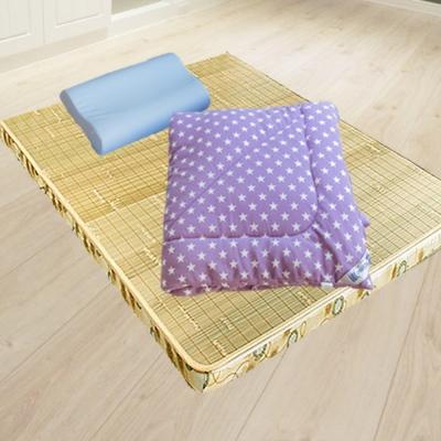 米夢家居 台灣製造-冬夏兩用竹青純棉單人床墊+記憶枕+防蹣抗菌暖暖被(紫)外宿熱賣三件組