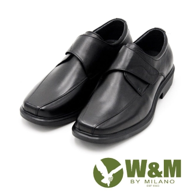 W&M 寬楦魔鬼氈經典男皮鞋-黑