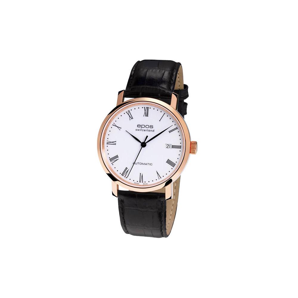 epos  原創經典機械皮帶腕錶-玫瑰金框/39mm