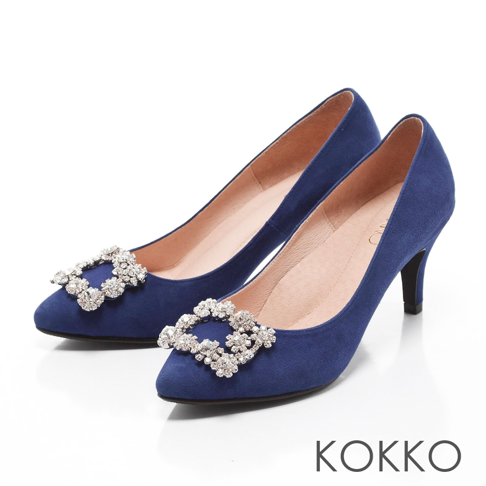 KOKKO-紅毯絢燦浪漫花鑽尖頭高跟鞋-萊寶藍