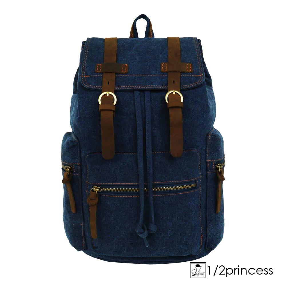 1/2princess獨家訂製款真皮雙扣街頭後背包-深藍色[A2124](快)