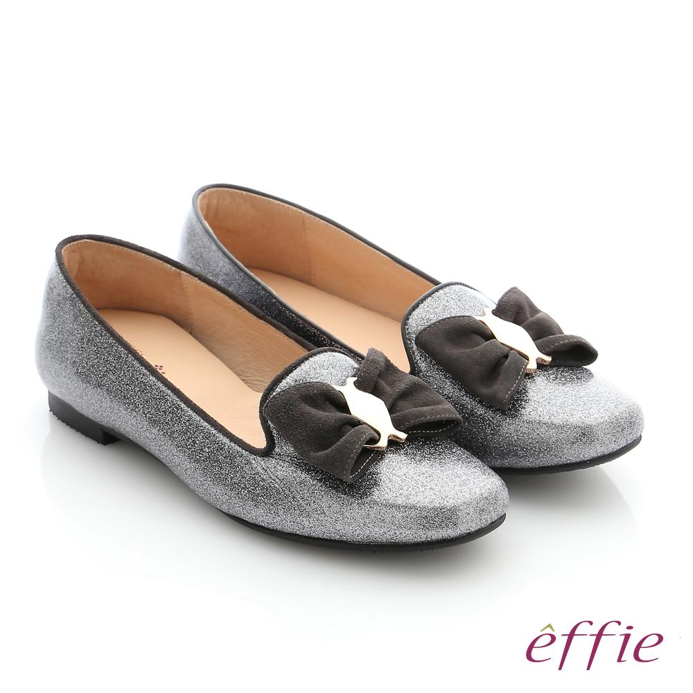 effie 個性美型 真皮蝴蝶結飾釦奈米平底鞋 灰色