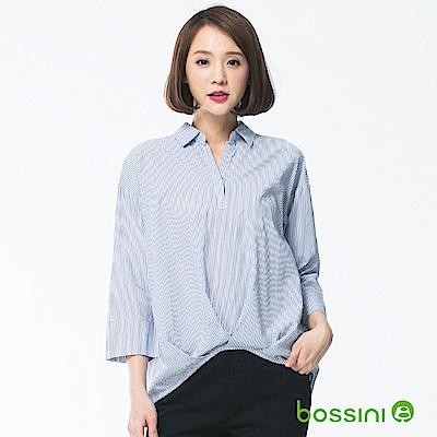bossini女裝-七分袖造型襯衫04藍