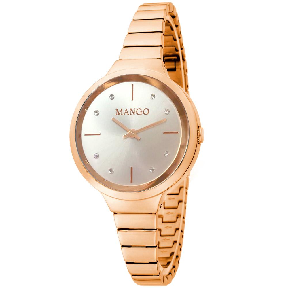 MANGO 古典愛戀晶鑽時尚腕錶--白色/玫瑰金-26mm