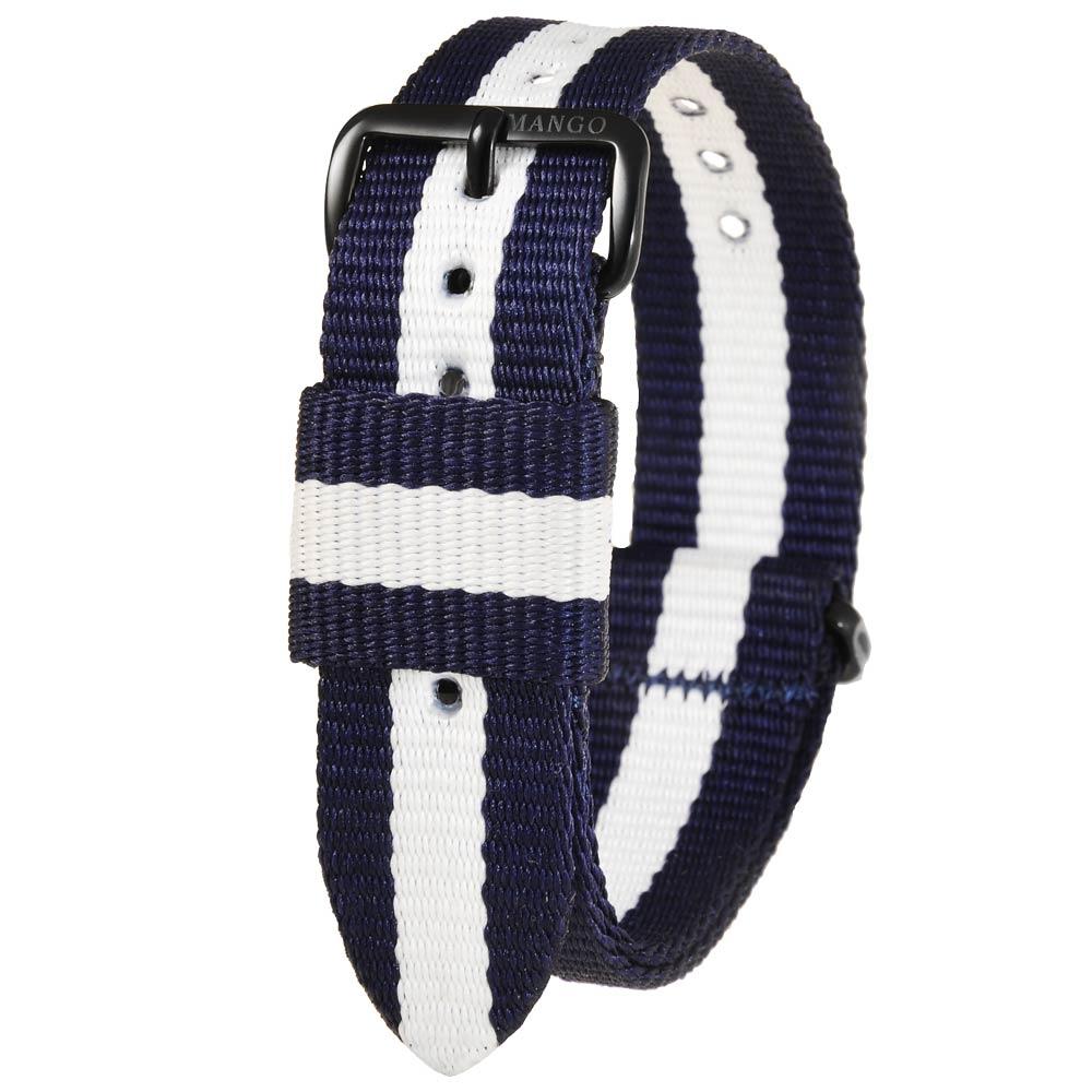 MANGO 簡約尼龍錶帶-藍x白(黑扣)