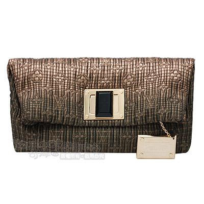 LV M93491 Altaïr手工刺繡夾棉布金屬方釦手拿晚宴包(古銅色)