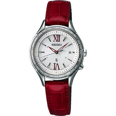 (無卡分期6期)SEIKO LUKIA 夢想羅馬太陽能電波腕錶-銀x紅/28mm