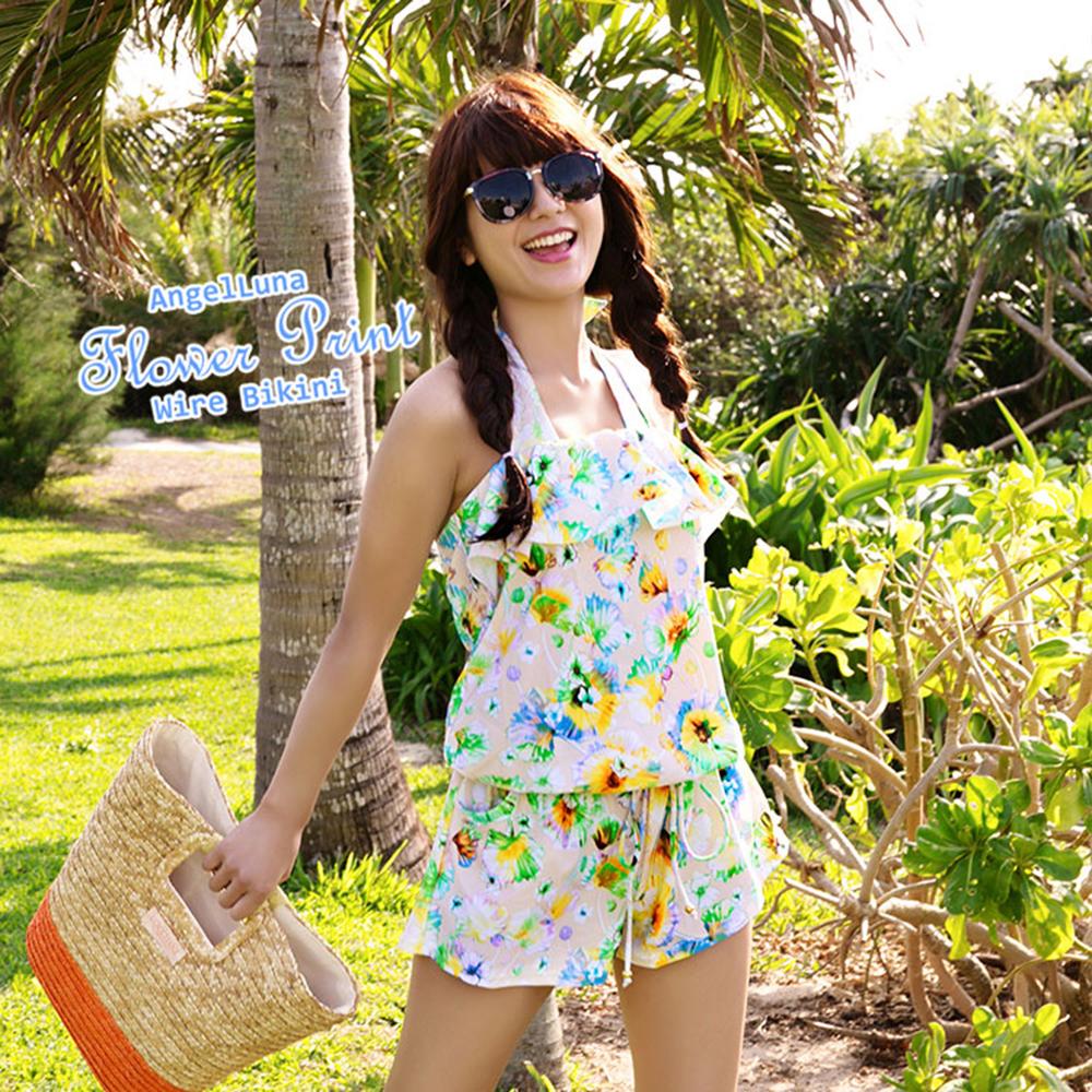 【AngelLuna日本泳裝】水彩風印花三件式比基尼泳衣-黃色