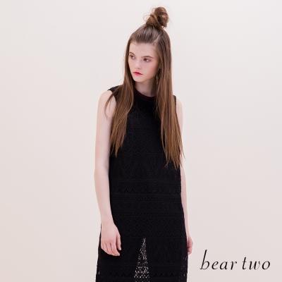 beartwo-蕾絲花紋編織長版開岔背心-二色
