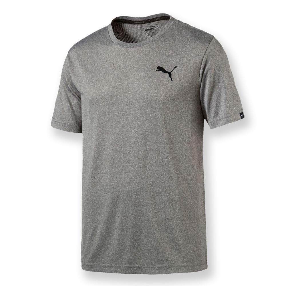 PUMA-男性基本系列素色小跳豹短袖T恤-中麻花灰-亞碼