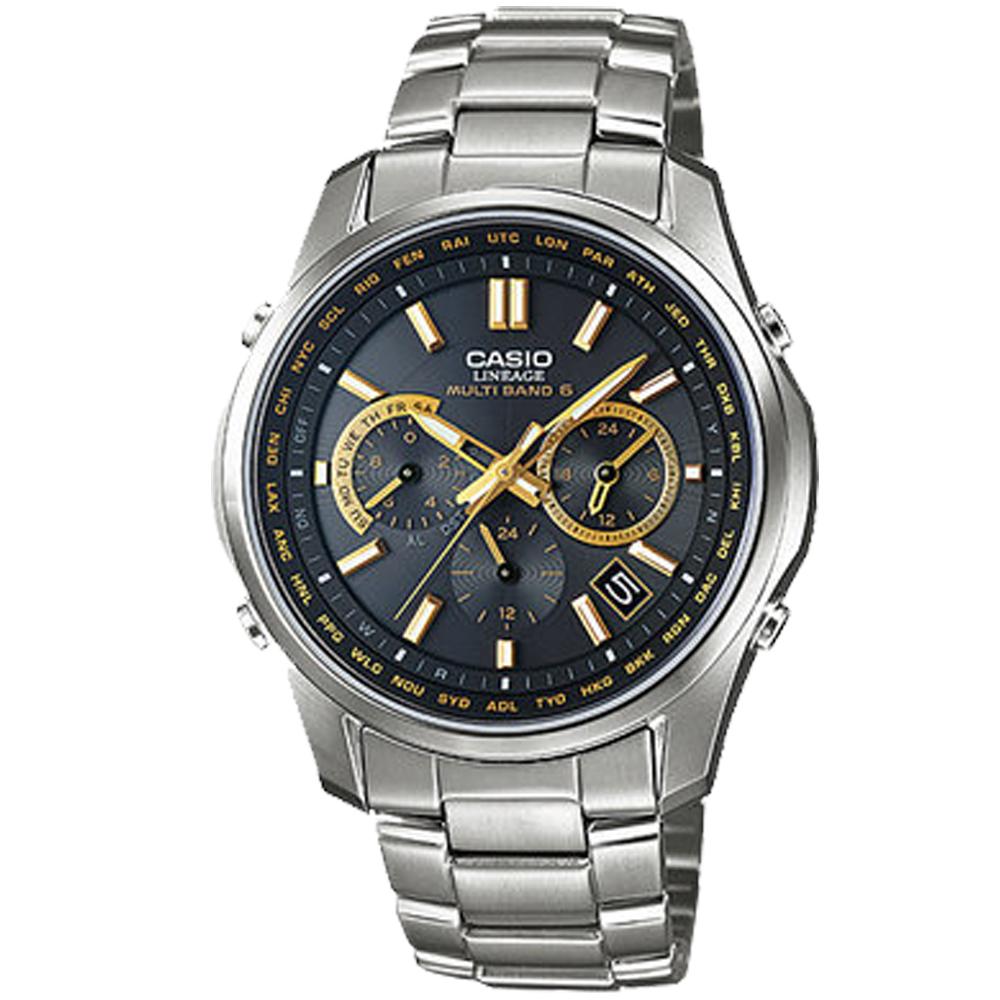 CASIO都會光廊六局電波指針錶(LIW-M610TDS-1A2)黑X金時刻/46.3mm
