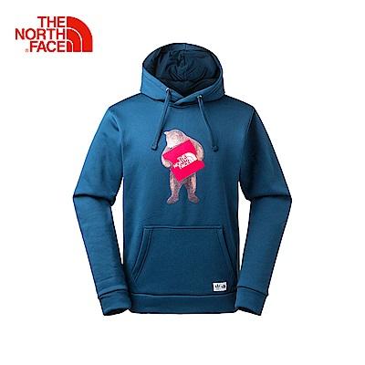 The North Face北面男款藍色舒適休閒連帽T恤