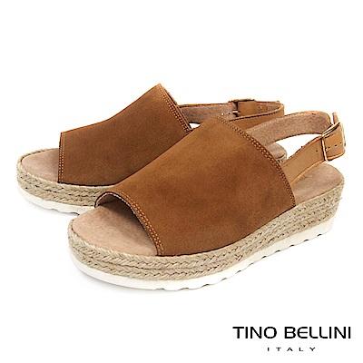 Tino Bellini 西班牙進口簡約寬帶魚口麻編楔型涼鞋_ 棕
