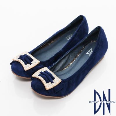 DN 璀璨耀眼 蝴蝶結水鑽飾釦牛反毛皮包鞋 藍
