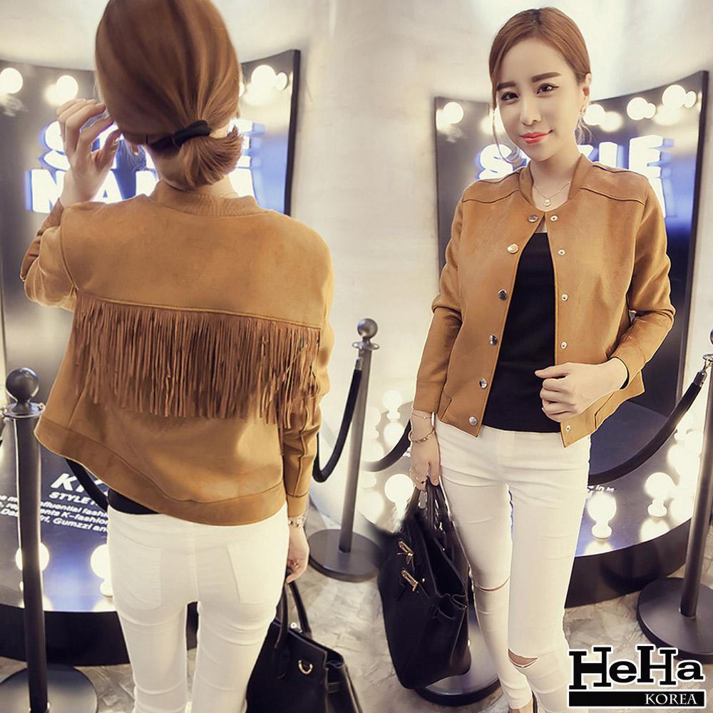 外套 麂皮絨單排釦長袖短款夾克 二色-HeHa