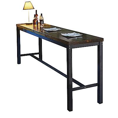 AT HOME-工業風設計8尺長型實木鐵藝洽談桌休閒桌吧台桌餐桌(240*60*102cm