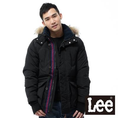 Lee 羽絨外套 拼接可拆帽長版 -男款-黑