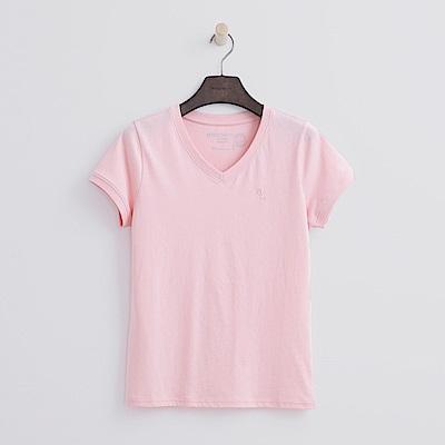 Hang Ten - 女裝 - 有機棉 V領多彩T恤-粉紅色